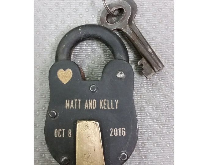 NokNoks LOVELOCK, Antique Vintage  Padlock, Engraved, Personalized, Wedding, Anniversary, Proposal, Gift