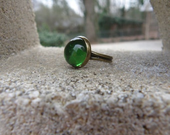 SALE Green Bubble Ring - Adjustable Ring - Antique Brass Ring -  Boho Jewelry - Jewelry - Gifts For Her
