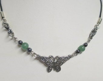 Butterfly necklace with New Jade and Hematite beads
