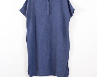 30% off Washed blue linen beach dress women,knee length dress,midi shirt dress,short sleeve dress pockets,plus size dress