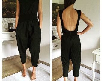 Harem Jumpsuit, Black Overall, Black Jumpsuit, Plus Size Romper, Black Romper, Open Back Jumpsuit, Plus Size Jumpsuit, Sexy Jumpsuit