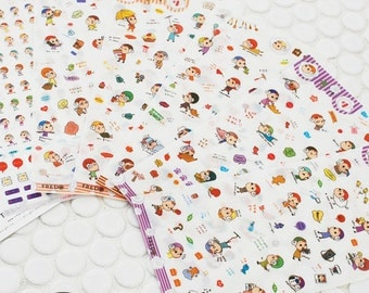 sheep hat doll stickers set - daily deco sticker - 6 Sheets