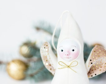 Holiday figurine, angel figurine, white and gold doll, new baby gift, newborn gift, gold nursery decoration, christening angel, gold accent