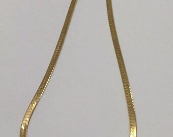 "14K YELLOW GOLD 3.5mm 16"" HERRINGBONE Chain Necklace 9.2 Grams!"
