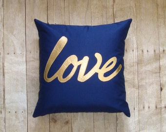 """Love Pillow - cover / Gold pillow / Navy and Gold - metallic love / love pillow / gold writing / metallic gold pillow - fits 18"""" insert"""