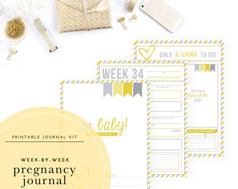 Printable Week-by-Week Pregnancy Journal - Use this diary to record weekly milestones and special memories as you await your little one!