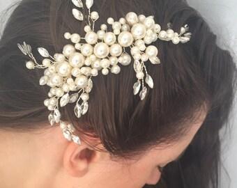Silver and Pearl Vine Hair Comb Crystal bridal Hair Comb Bridesmaid Wedding