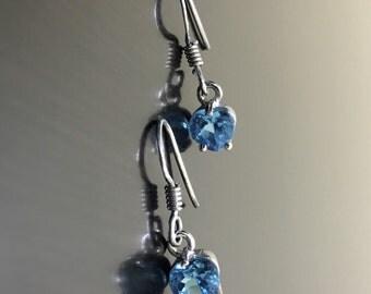 Heart Blue Topaz Earrings - Blue Topaz Heart Drop Earrings - Sterling Silver Topaz Dangling Earrings - Heart Shaped Topaz Earrings