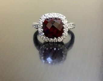 18K White Gold Tourmaline Diamond Engagement Ring - 18K Gold Halo Diamond Tourmaline Wedding Ring - 18K Tourmaline Ring - Halo Diamond Ring