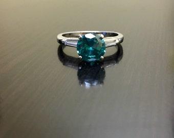 Platinum Blue Diamond Engagement Ring - Art Deco Platinum Diamond Wedding Ring - Solitaire Diamond Platinum Ring - Blue Diamond Ring