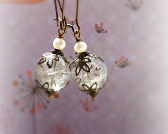 Rustic wedding pearl dandelion earrings , Real seeds terrarium jewelry , Handmade birthstone jewellery gift idea for her ,Glass orb earings