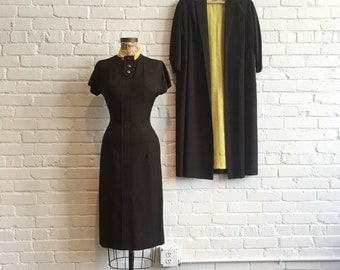 1950s Original Prestige Junior Set // 50s Brown and Yellow Polka Dot Dress with Coat // Vintage 1950s Dress and Jacket Set