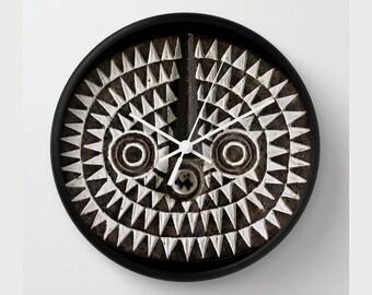 African Art — Rround Wall Clock Featuring Portrait of Bobo Bwa Sun Mask