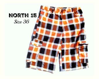 Cargo shorts ,men's long shorts, casual shorts, men's check shorts, Size 36,    # 231
