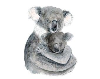 Mom Baby Koala - Koala Nursery Art - Animal Art - Australian Nursery - Baby Koala - Koala Watercolor - Gray Nursery - Gender Neutral