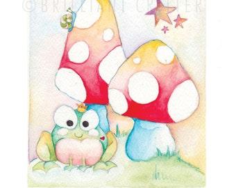 Frog Prince Nursery Art - Watercolor Frog Prince Print