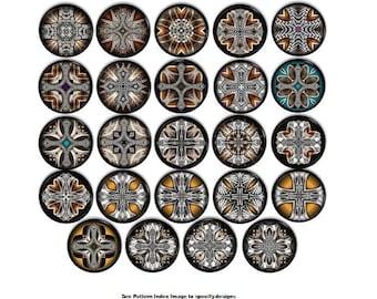Delightful Celtic Cross Ornamental Shield Cabinet Drawer Pulls   Medieval Dresser Knobs,  Bronze, Teal,