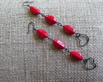 red earrings, heart earrings, very long earrings, long red earrings, modern earrings, fun earrings, Valentine's Day, anniversary earrings