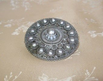 SALE Antique Dutch Silver Cannetille Brooch Vinaigrette Brooch-Zeeland Knot Button Brooch-.835 Silver Wirework Pin-Circa 1800's GREAT GIFT