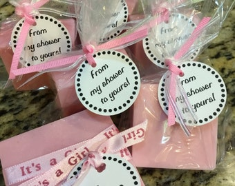 Shower Favors, Large, Baby Shower, Bridal Shower, Thank you gift, Homemade, White Rose Bergamot, Oatmeal Cinnamon Soap, Pink or Blue Shower