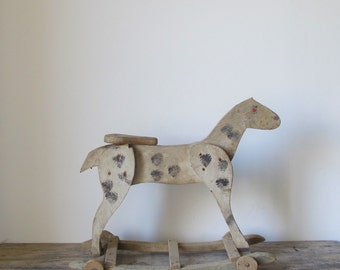 Antique 19th century French wooden Horse pull toy