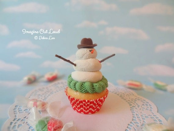 Realistic Fake Cupcake Cowboy Hat RED Handmade Christmas Snowman Faux Frosty