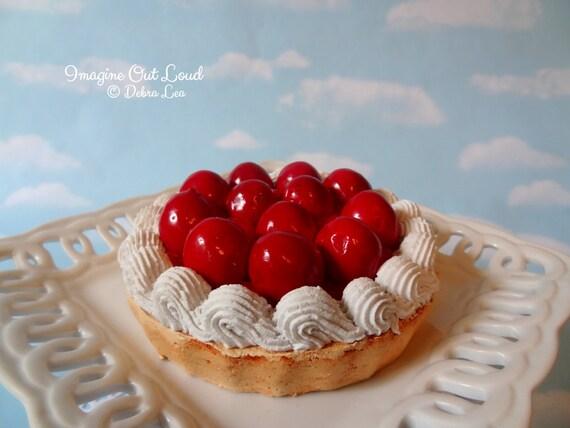 Fake Pie Tart Dessert Cherry Cherries Sweet Home Decor Kitchen Photo Prop Display Gift