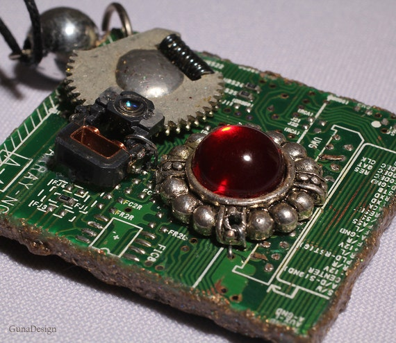 Cyberpunk Steampunk Necklace from Recycled Computer Parts by GunaDesign