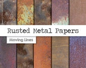 Rusted Metal Digital Paper Pack, Grunge Backdrop, Shabby Texture Digital Wallpaper, Distressed Background 12x12 in
