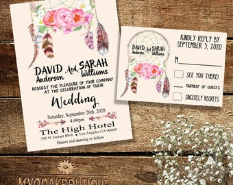 Bohemian Wedding invitation Dreamcatcher feather flowers boho Digital Printable Suite Invitation RSVP response card You Print 13984