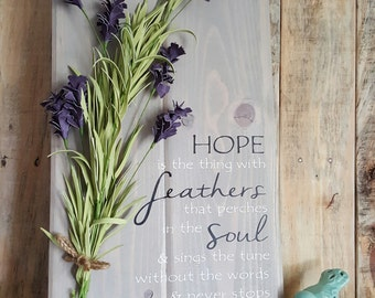 Shiplap Rustic Signs Hope is the thing with feathers. Interchangeable floral detail shiplap sign. Rustic wood home decor. Customize floral