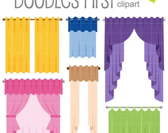 Colorful Curtains Digital Clip Art For Scrapbooking Card Making Cupcake  Toppers Paper Crafts