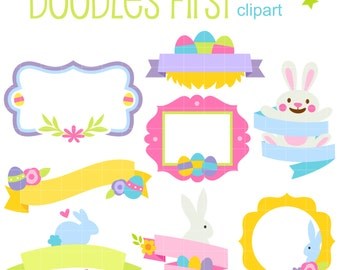 Easter Frames and Banners Digital Clip Art for Scrapbooking Card Making Cupcake Toppers Paper Crafts