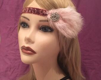 20s Flapper 1920's style dark pink maroon art deco 20's feather headband head piece rhinestone stretch gatsby adjustable headpiece (655)