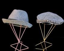 Vintage Metal Wire Hat Stand || Modern Retro Hat/Wig Display || Gold or Pink
