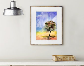 Original Watercolor Painting, Tree Painting, Landscape, Modern Painting, Wall Art