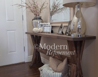 rustic farmhouse entryway table, sofa table, console table, entryway, farmhouse table.