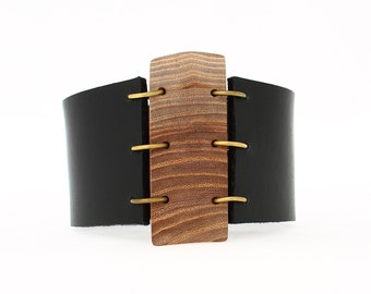 Statement cuff bracelet - wooden bracelet - natural leather cuff bracelet