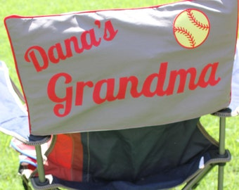 Personalized Sports Camping Chair - Mom Dad Chair Cover - Soccer Baseball Softball Football Chair - two names with patch