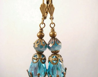 Turquoise Crystal Drop/Dangle Earrings Downton Abbey Inspired