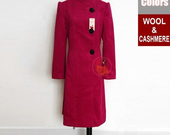 Deep Pink Wool Coat with Puff Sleeves and Round Lapel - Deep Fuchsia Wool Coat - Wool Cashmere Blend Coat - Short Wool Coat 16N09 40 Colors