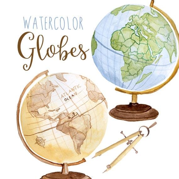 aquarell globen globus clipart planet p228dagogische clipart