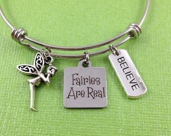Fairy Charm Bracelet, Fairies Are Real Charm Bracelet, Fairy Bracelet, Fairy Jewelry, Believe  Charm, Fairy Charm, Stainless Steel Bangle