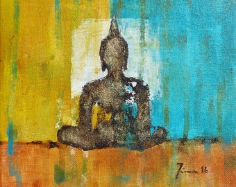 "DONATION for NEPAL!!!*** Original ""Buddha for Nepal""  8 x 8 inch"