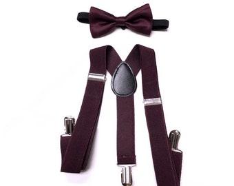boys suspenders, Infants & Toddlers,  EGGPLANT bowtie, eggplant suspenders, toddler suspenders, boy suspenders, boys suspenders