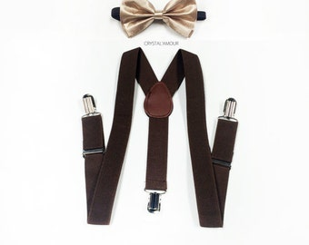 boys suspenders, champagne bowtie, soft gold bowtie, brown suspenders, toddler suspenders, boy suspenders, suspenders, brown suspenders