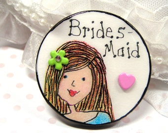 honey blonde bridesmaid gift,bridal party badge,bridesmaid jewelry,wedding party gift,personalized wedding party gift