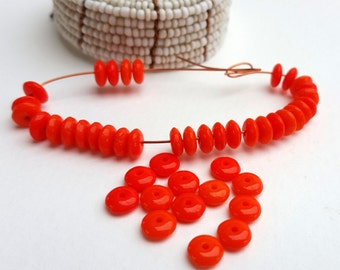 40 Bright Orange Czech Glass Bead Spacers-Retro Glass Rondelles-6mm