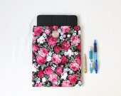Rose print IPad case 10 inch tablet cover flower print fabric padded Ipad cover fabric tablet sleeve Gift for teen handmade in the UK