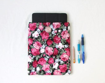 Rose print IPad case, 10 inch tablet cover, flower print fabric, padded Ipad cover, fabric tablet sleeve, Gift for teen, handmade in the UK